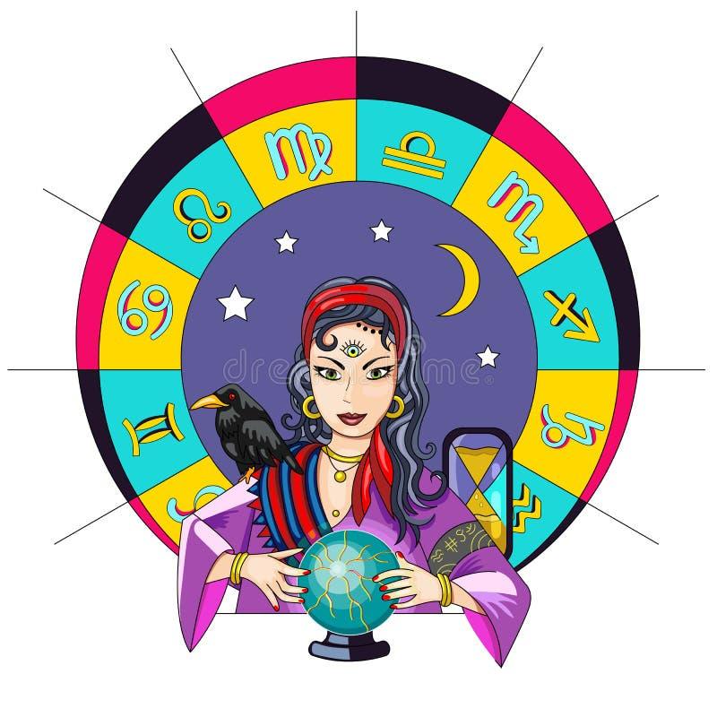 Het orakelmeisje voorspelt de toekomst op een magische bal vectorillus vector illustratie