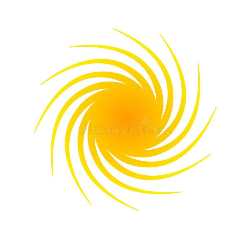 Het oranje abstracte Element van de cirkelbanner voor ontwerp in de vorm van de zon met spiraalvormig stralen halftone Decoratief vector illustratie