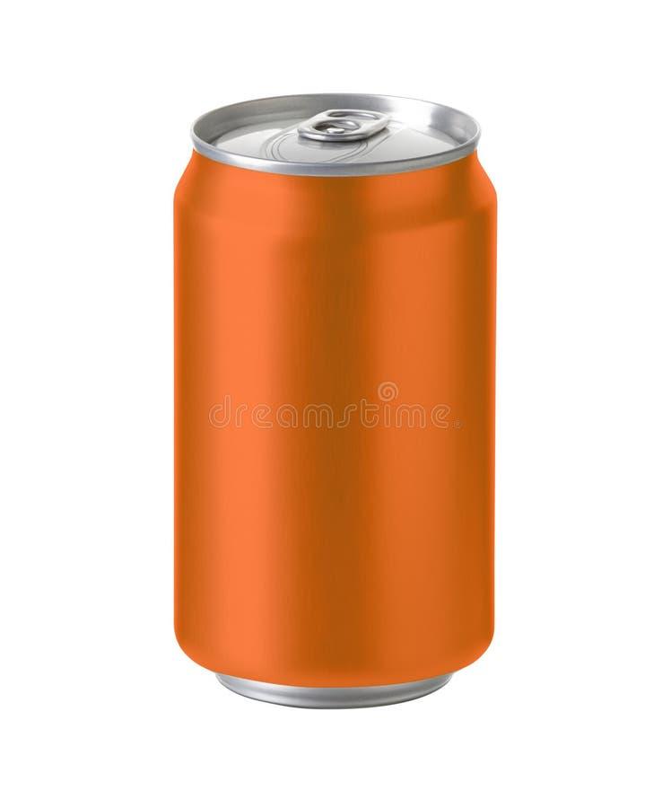 Het oranje aluminium kan met ruimte voor ontwerp en klemweg stock foto's
