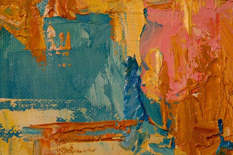 Het oranje, blauwe, roze, gele schilderen die dicht omhoog, textuur tonen stock foto