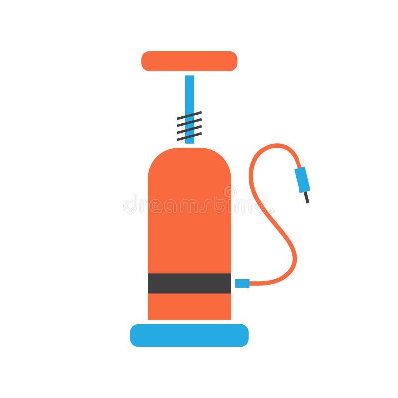 Het oranje en blauwe pictogram van de fietspomp royalty-vrije illustratie