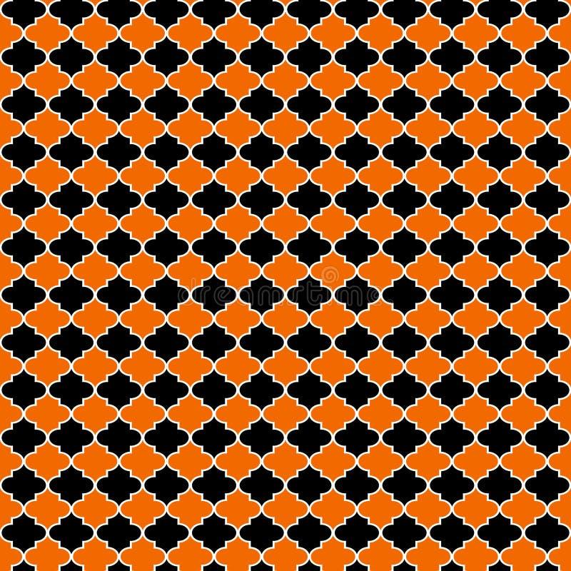 Het oranje en Zwarte Naadloze Patroon van Quatrefoil vector illustratie