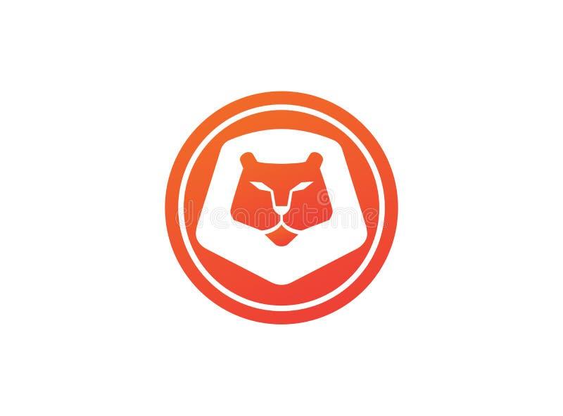 Het oranje het leeuwhoofd en gezicht voor embleem ontwerpen illustratie, dierlijk koningspictogram royalty-vrije illustratie