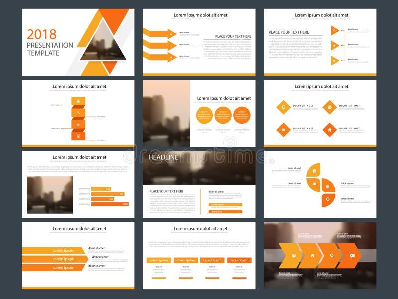 Het oranje malplaatje van de de elementenpresentatie van de driehoeksbundel infographic bedrijfs jaarverslag, brochure, pamflet,  stock illustratie