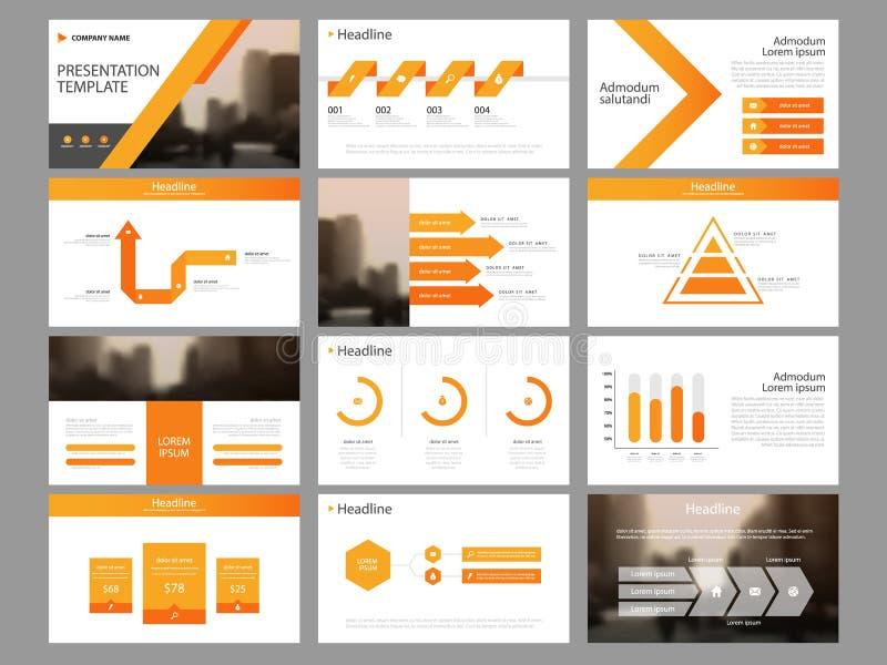 Het oranje malplaatje van de de elementenpresentatie van de driehoeksbundel infographic bedrijfs jaarverslag, brochure, pamflet,