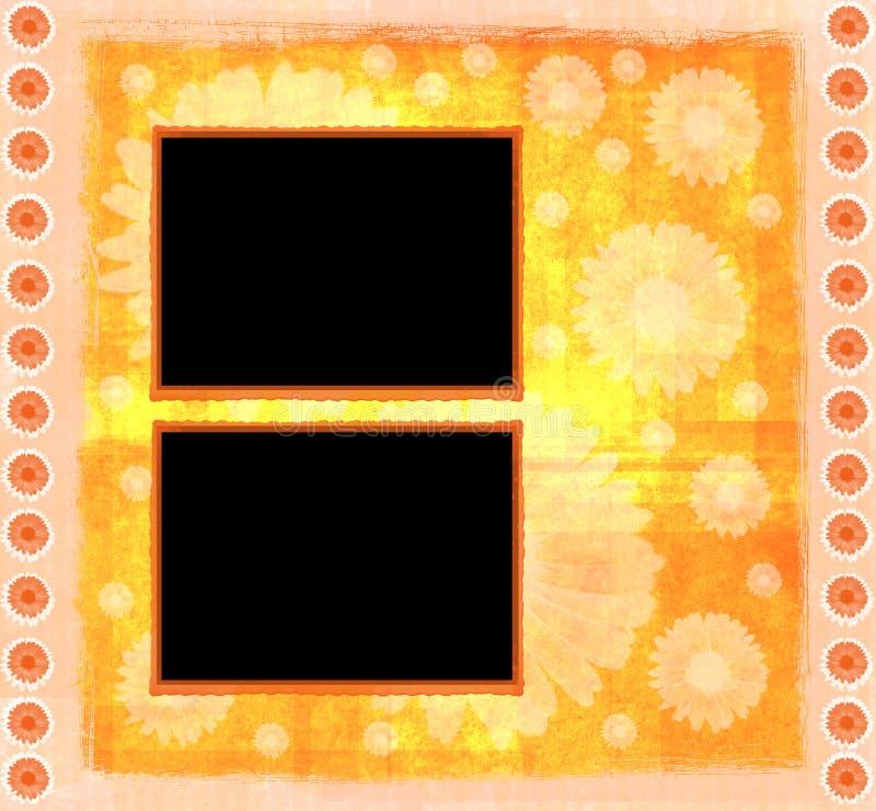 Het oranje malplaatje van het kaderplakboek vector illustratie