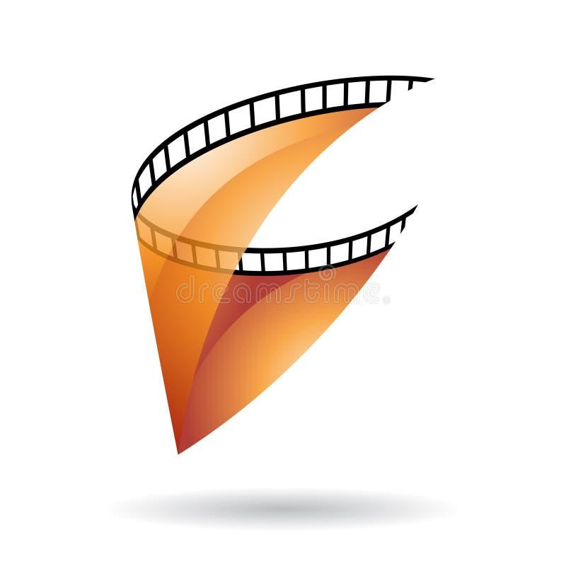Het oranje Transparante Pictogram van de Filmspoel vector illustratie