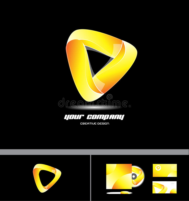 Het oranjegele ontwerp van het driehoeks collectieve 3d embleem royalty-vrije illustratie