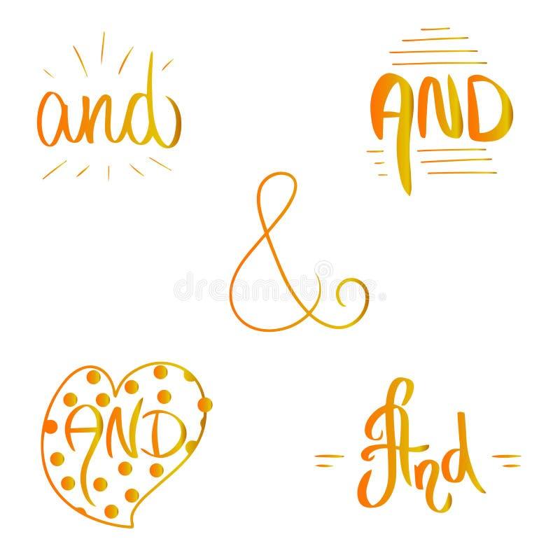 Het oranjegele woord van de gradiëntvangst en Getrokken de borstelstijl van de Ampersand vectorillustratie hand in hartgrens en k vector illustratie