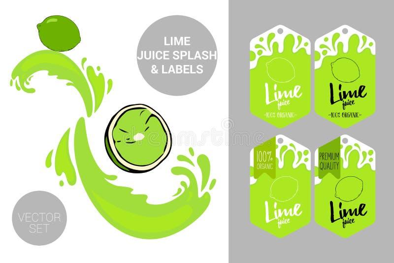 Het organische fruit etiketteert markeringen en citroensaptekst Kleurrijke tropische stickers Sappige exotische fruitkentekens royalty-vrije illustratie