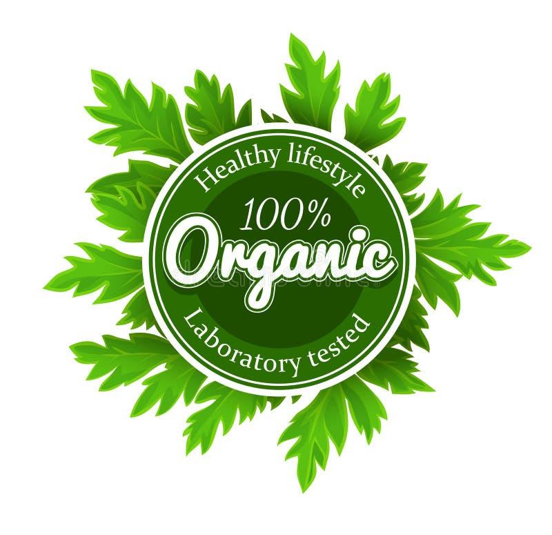 Het organische ronde etiket van het embleemteken met groene bladeren stock illustratie