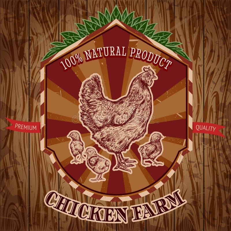 Het organische uitstekende etiket van het kippenlandbouwbedrijf met kip met kuikens op de grungeachtergrond stock illustratie