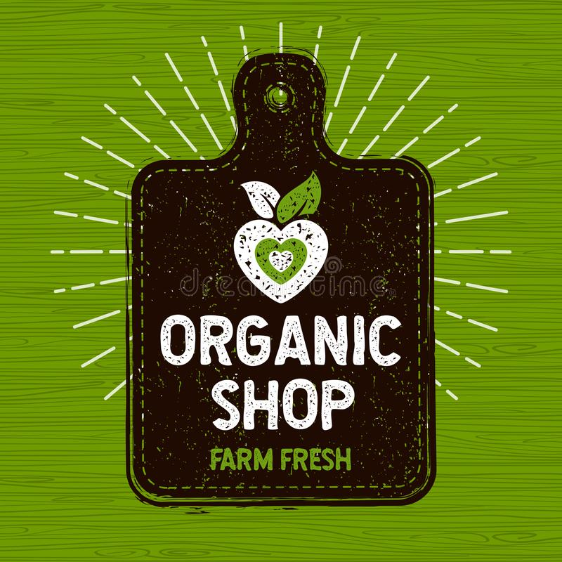 Het organische winkelembleem, bewerkt vers voedseletiket, scherpe raad, stralen, w stock illustratie