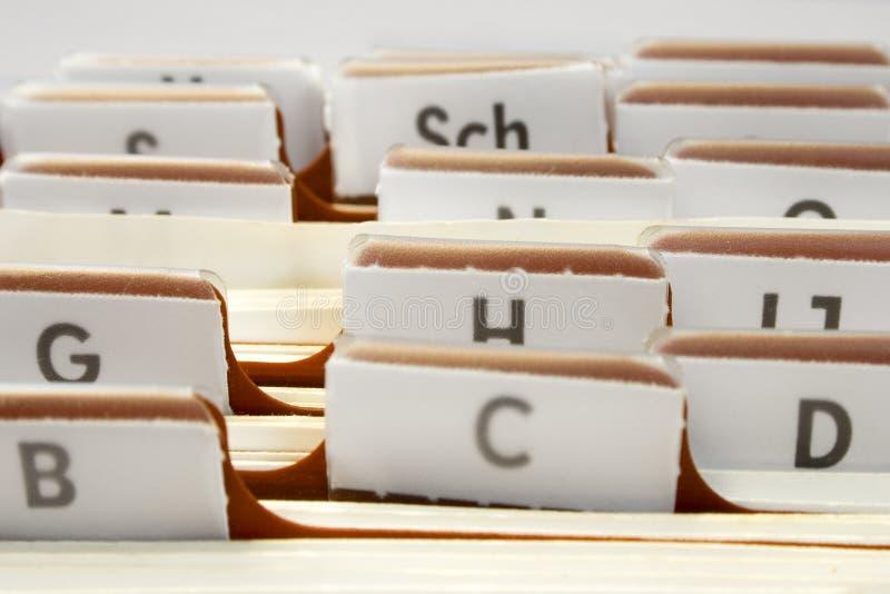 Het organiseren van Contacten stock afbeelding