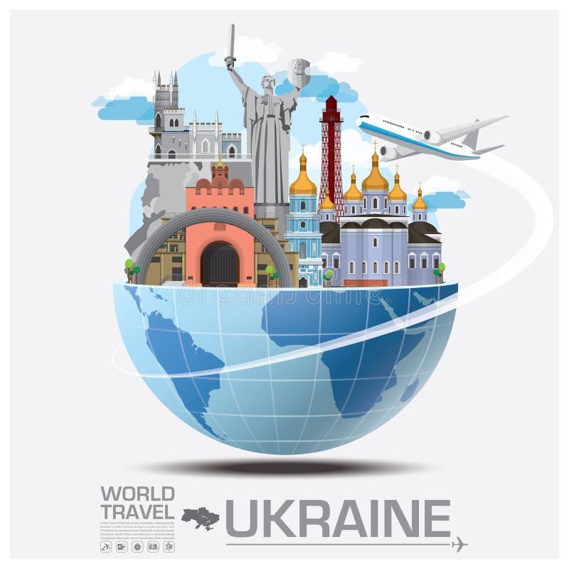 Het Oriëntatiepunt Globale Reis en Reis Infographic van de Oekraïne royalty-vrije illustratie