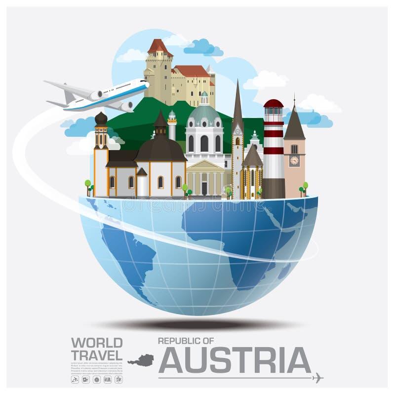 Het Oriëntatiepunt Globale Reis en Reis Infographic van Oostenrijk stock illustratie