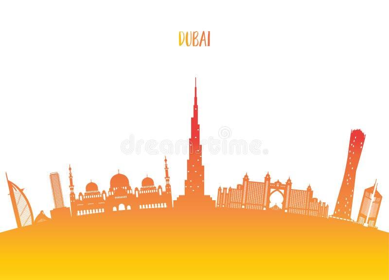 Het Oriëntatiepunt Globale Reis van Doubai en Reisdocument achtergrond Vecto royalty-vrije illustratie