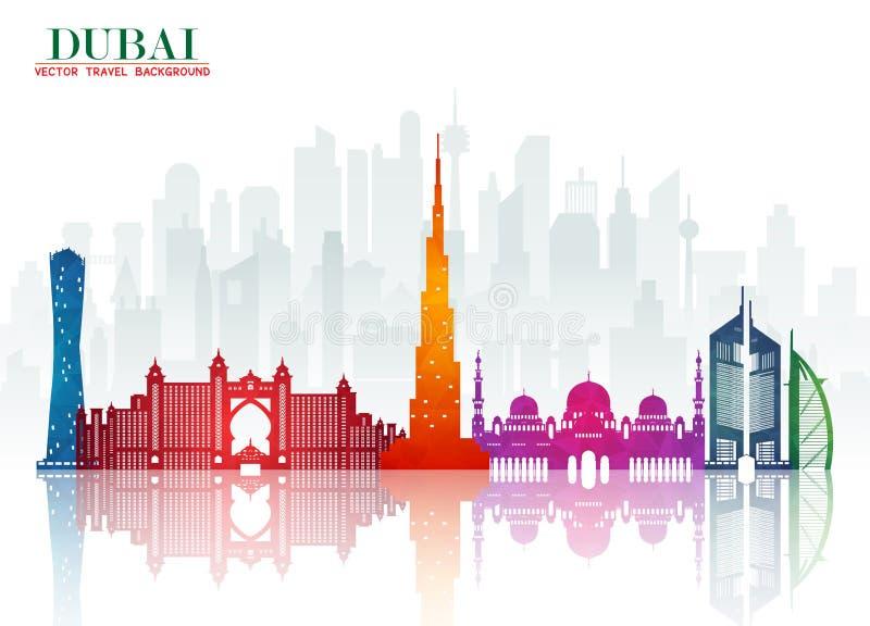 Het Oriëntatiepunt Globale Reis van Doubai en Reisdocument achtergrond Vecto vector illustratie