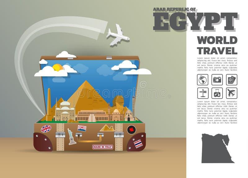 Het Oriëntatiepunt Globale Reis van Egypte en de bagage van Reisinfographic 3d stock illustratie