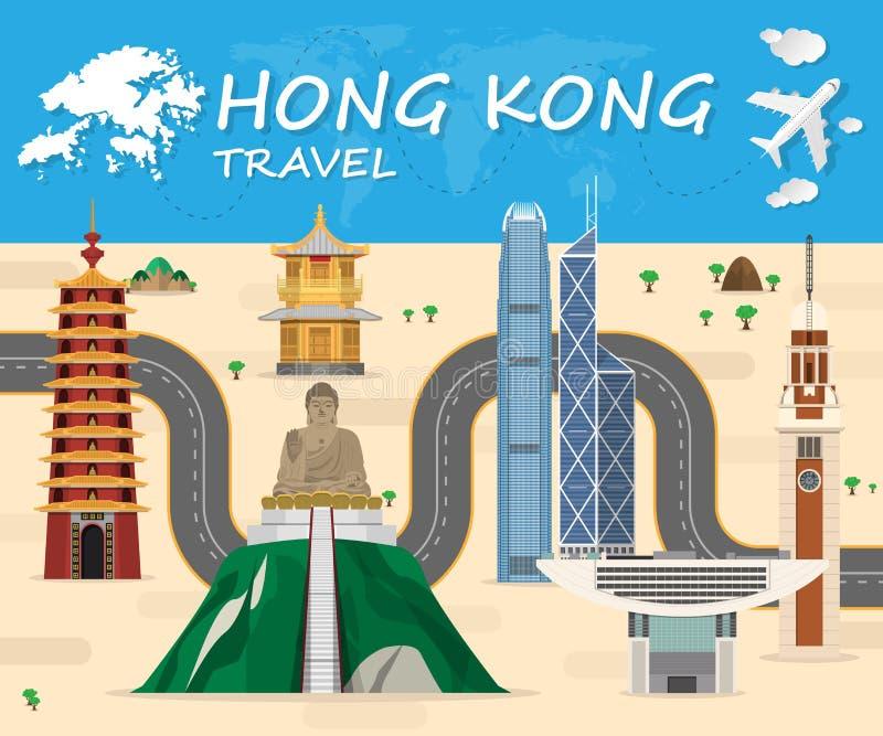 Het Oriëntatiepunt Globale Reis van Hongkong en backgro van Reisinfographic stock illustratie