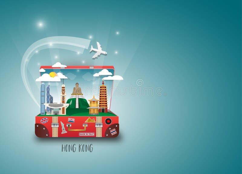 Het Oriëntatiepunt Globale Reis van Hongkong en Reisdocument achtergrond V vector illustratie