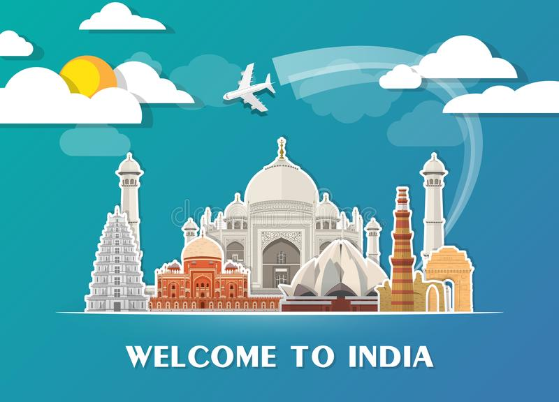 Het Oriëntatiepunt Globale Reis van India en Reisdocument achtergrond Vecto stock illustratie