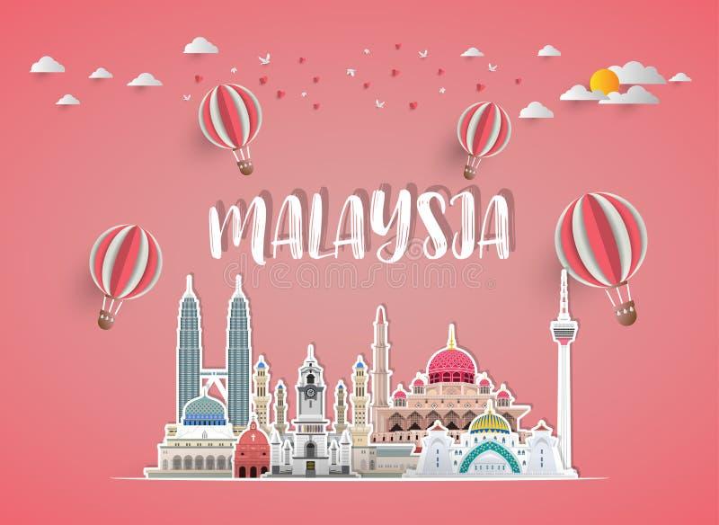 Het Oriëntatiepunt Globale Reis van Maleisië en Reisdocument achtergrond Ve stock illustratie