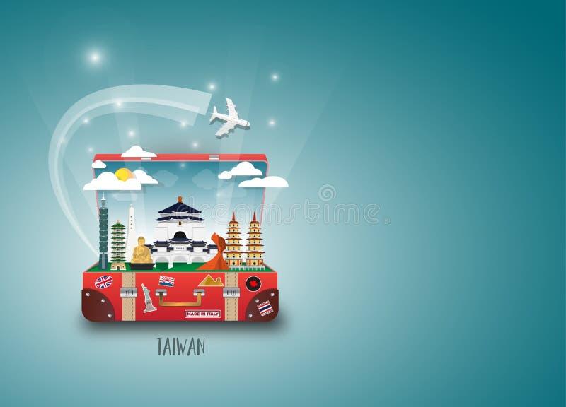 Het Oriëntatiepunt Globale Reis van Taiwan en Reisdocument achtergrond Vect vector illustratie