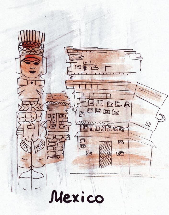 Het Oriëntatiepunt Mexicaans idool van de illustratieschets stock illustratie