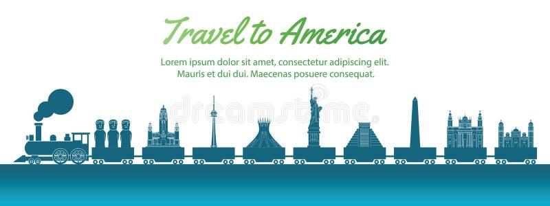 Het oriëntatiepunt van Amerika door trein, het silhouetstijl van de conceptenkunst, vectorillustratie, groenachtig blauwe gradiën royalty-vrije illustratie