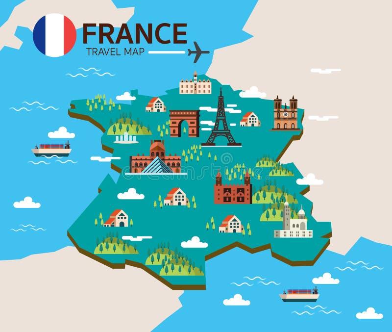 Het oriëntatiepunt van Frankrijk en reiskaart royalty-vrije illustratie