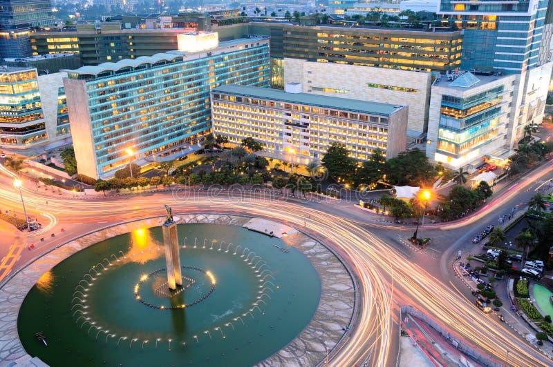Het Oriëntatiepunt van Indonesië van het Bundaran HALLO Hotel, Djakarta, Indonesië stock foto's