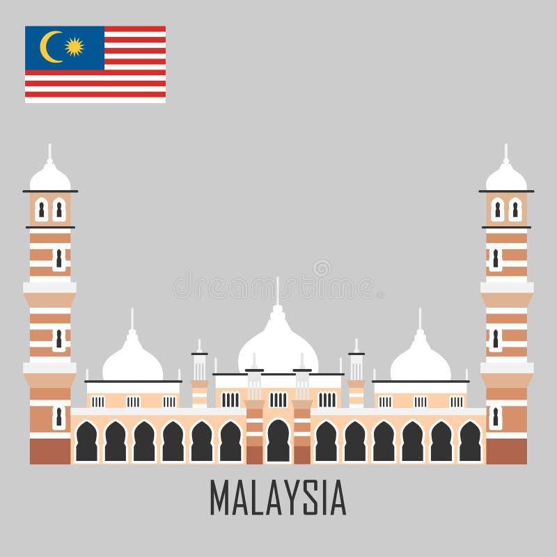 Het oriëntatiepunt van Maleisië De Moskee van Masjidjamek, Kuala Lumpur royalty-vrije illustratie