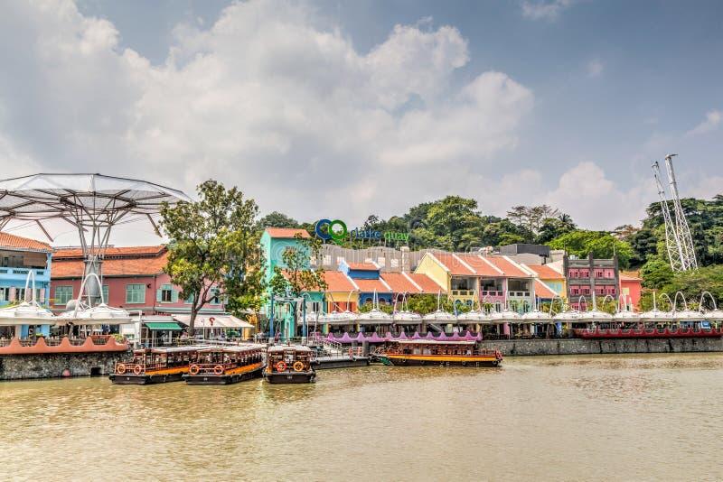 Het Oriëntatiepunt van Singapore: HDR van Clarke Quay op de Rivier van Singapore stock afbeeldingen