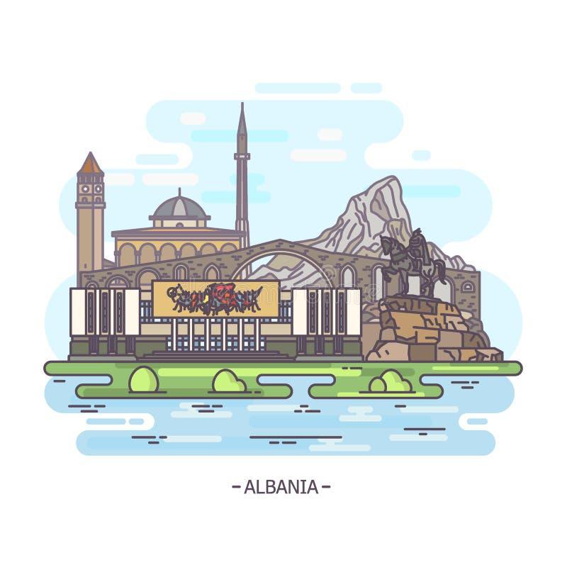 Het oriëntatiepuntgebouwen van Albanië, architectuurmonument vector illustratie