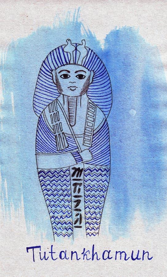 Het Oriëntatiepuntgraf van de illustratieschets van Farao Tutankhamen royalty-vrije illustratie