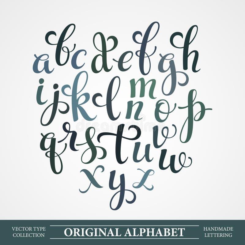 Het originele alfabet Het met de hand gemaakte van letters voorzien royalty-vrije illustratie