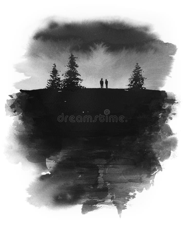 Het originele hand getrokken inkt schilderen van twee mensen die zich onder een donkere hemel met pijnboombomen rond hen bevinden royalty-vrije illustratie