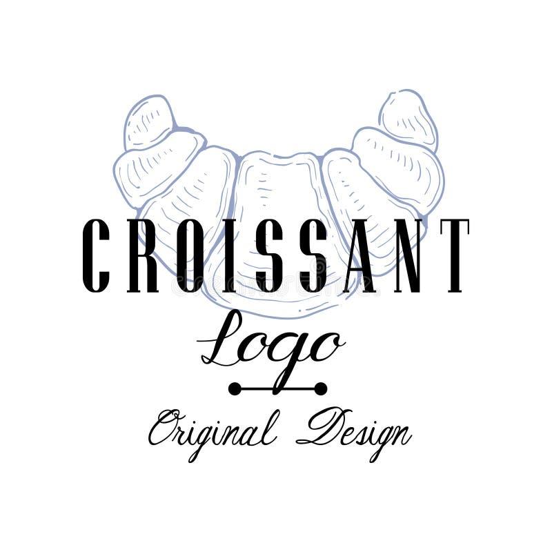 Het originele ontwerp van het croissantembleem, retro embleem voor bakkerijwinkel, koffie, restaurant, kokende zaken, de vector v stock illustratie