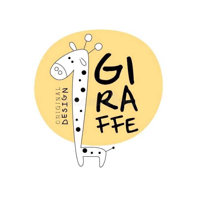 Het originele ontwerp van het girafembleem, gestileerde wilde dierlijke etiket gemakkelijke editable voor Uw ontwerphand getrokke royalty-vrije illustratie