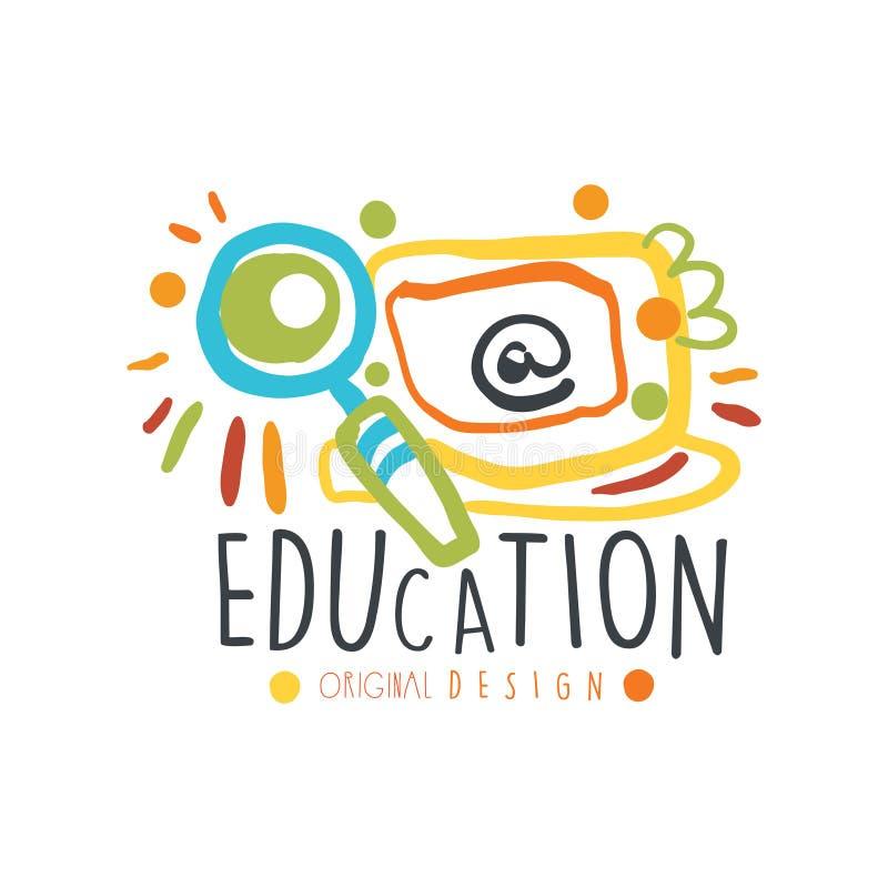 Het originele ontwerp van het onderwijsetiket, terug naar grafische het malplaatje kleurrijke vectorillustratie van het schoolemb vector illustratie