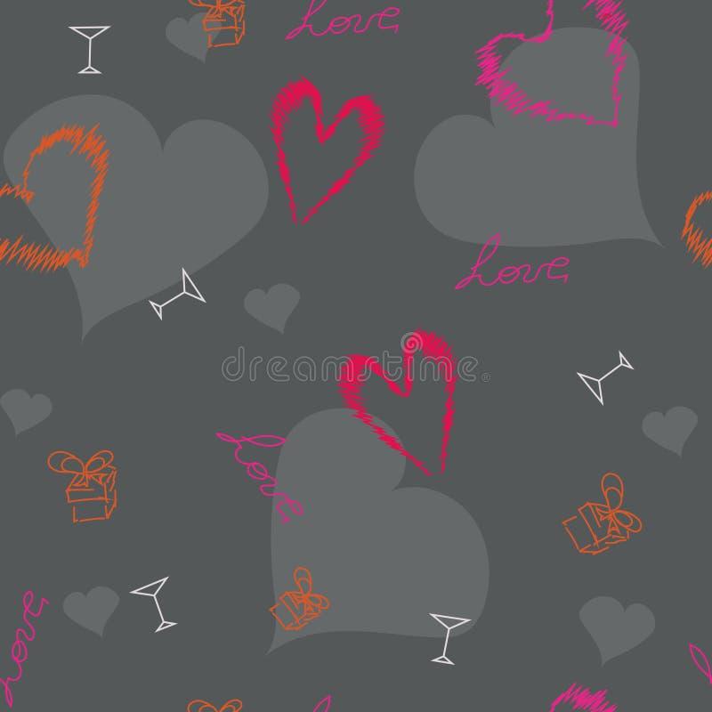 Het originele Patroon van Valentijnskaartenharten stock fotografie