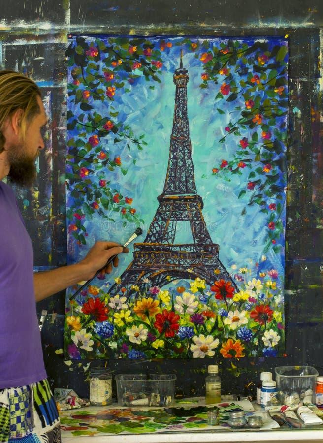 Het originele van het de kunstimpressionisme van het olieverfschilderij oin canvas de illustratiekunstwerk desing stock foto