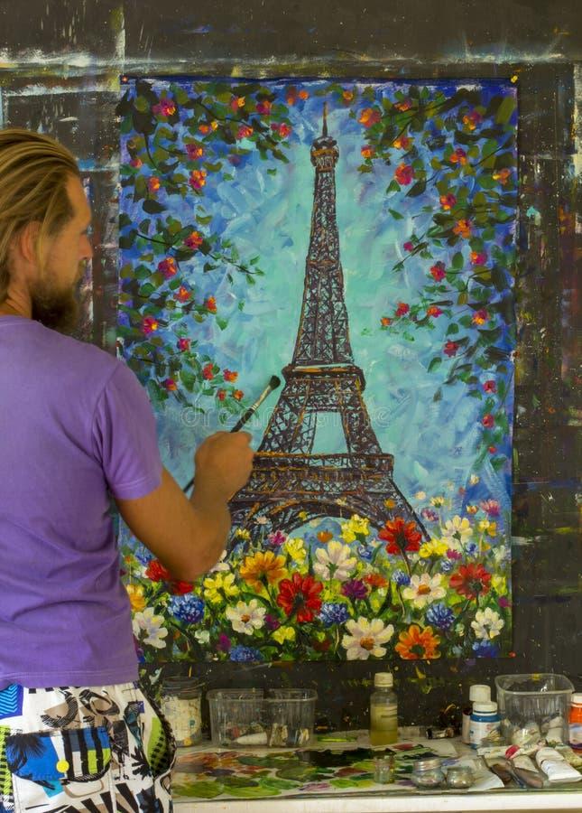 Het originele van het de kunstimpressionisme van het olieverfschilderij oin canvas de illustratiekunstwerk desing stock afbeeldingen
