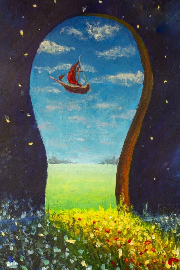 Het originele van het de kunstimpressionisme van het olieverfschilderij oin canvas de illustratiekunstwerk desing stock illustratie