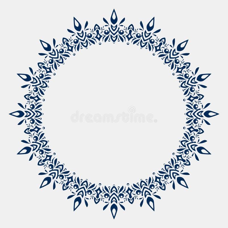 Het ornament van het cirkelkant, rond sier geometrisch doily patroon w vector illustratie