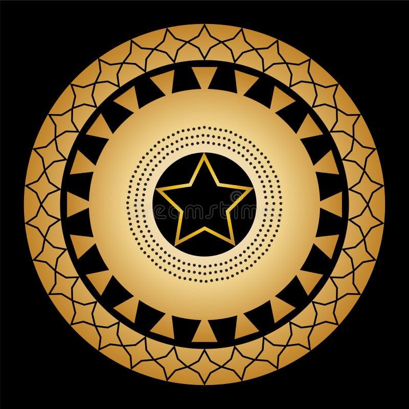 Het ornament van cirkels en de patronen op een zwarte achtergrond met een vijf-gericht goud spelen in het centrum mee royalty-vrije illustratie