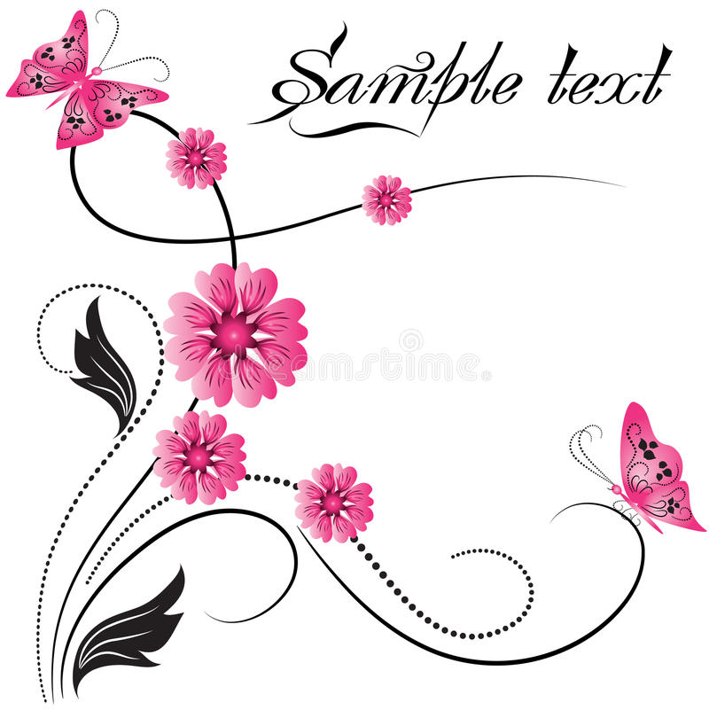 Het ornament van de bloem met vlinder royalty-vrije illustratie