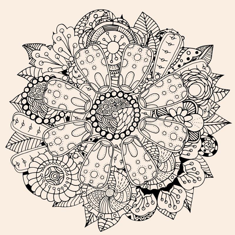 Het ornament van de cirkelbloem royalty-vrije illustratie
