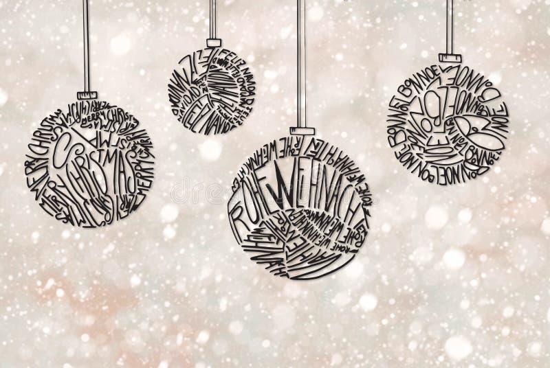 Het Ornament van de kerstboombal, Lichtpaarse Schitterende Achtergrond stock illustratie